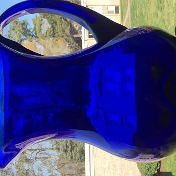 Cobalt Blue Hand Blown Pitcher - Glassware