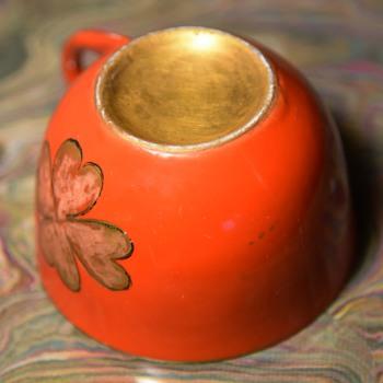 Gilded Orange Cloverleaf Teacup - China and Dinnerware