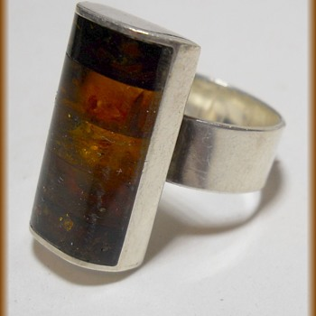Sterling silver and Baltic Amber ( Marked MTM ) - Fine Jewelry