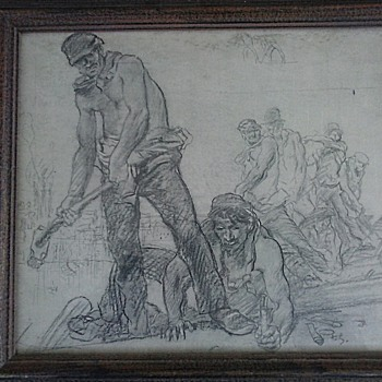 "Sir Frank William Brangwyn (1867-1956) Reproduction / ""Railway Workers"" 18"" x 20"" Framed/ Circa 20th Century - Fine Art"