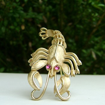 Rare Trifari Lobster Brooch - Under the Sea Collection - Animals