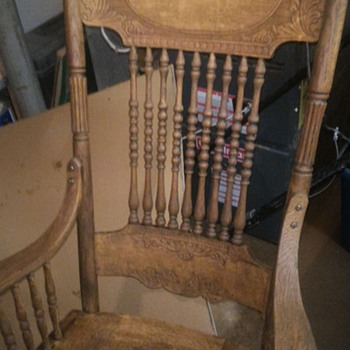 Antique rocking chair with tooled leather seat.  - Furniture