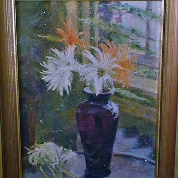 """Spider Mums In Purple Vase"" by S. Codd 1935 Oil On Canvas - Fine Art"