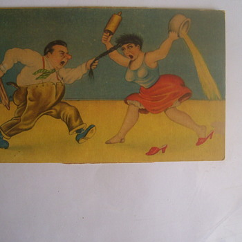 SPOUSAL ABUSE VINTAGE POSTCARD FROM MEXICO! HE HAS CLUB WITH A NAIL,SHE A POT OF PEE!