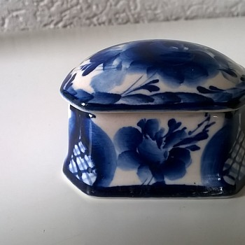 Very Small Handmade Porcelain Trinket Box, Flea Market Find - Pottery