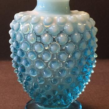 Fenton Blue Opalescent Hobnail Vanity Perfume Bottle, 1940-1955 - Glassware