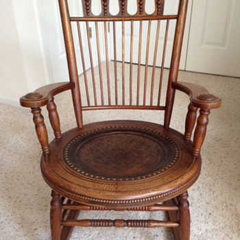 Fryeburg, Maine Antique Oak With Leather Seat U0026 Matching Childu0027s