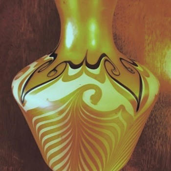 Durand Pulled & Hooked Feather Vase c.1925 - Art Glass