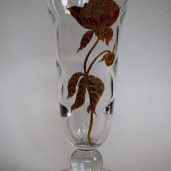 "13"" Elegant Glass Vase w/Acid Etched & Gold Leafed Peony flower - Art Glass"