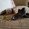 antique leather baby shoes, papo's spectacles and button hook