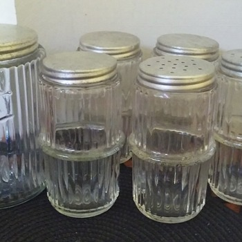 depression glass TEA canister and 5 matching spice jars/shakers for a HOOSIER CABINET