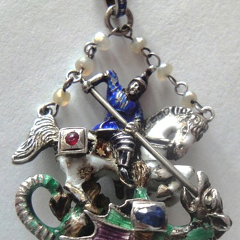 Austro Hungarian Antique enameled  ST GEORGE slaying the DRAGON STERLING PENDANT - Victorian Era