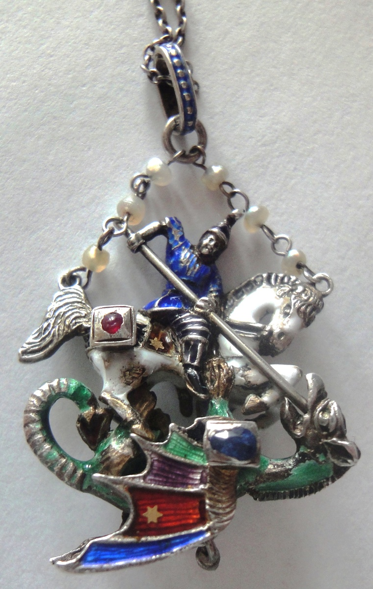 kills com medal cross horse pendant amazon shield george on st silver jewelry sterling saint dp dragon