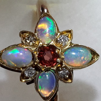Antique 15 ct gold opal, old cut diamonds and ruby ring