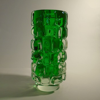 Skrdlovice glassworks -- Frantisek Vizner 7117 'toffee' art glass vase in green and clear -- Czech art glass - Art Glass