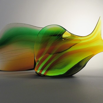 Exbor cut art glass fish sculptures (Czechoslovakia) - Art Glass