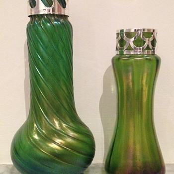 Two modern silver collars for old vases - Art Glass