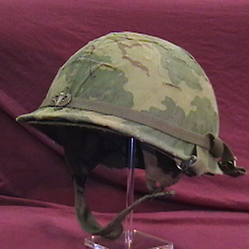 1966 U.S. Army Jump Helmet with Camouflage Cover