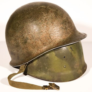 Army Hand Camouflage US M1 helmet and USMC liner used in the battle for the philippines - Military and Wartime