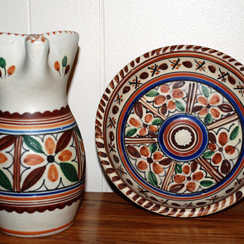 Art Pottery Pitcher and Plate - Pottery