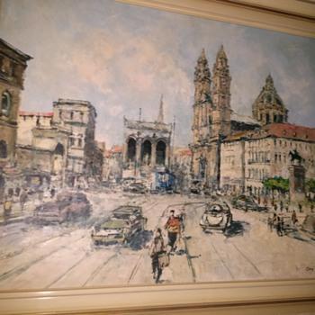 Painting 1960s of Odensplatz, Munich Germany - Fine Art