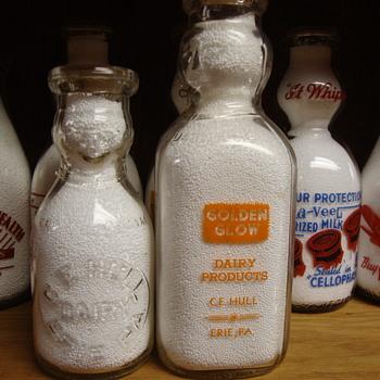 "C. E. HULL (Golden Glow) Dairy Erie Pennsylvania ""COP THE CREAM"" milk bottles....... - Bottles"