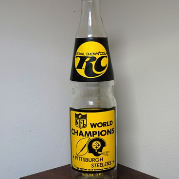 1975 Royal Crown R.C. Cola Soda Bottle Pittsburgh Steelers NFL World Champions Super Bowl IX Uniontown, PA Nehi - Bottles