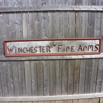 winchester fire arms wood sign - Advertising