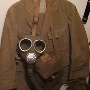 WW II Imperial  Japanese Marine Tunic and Gas Mask with Carrying Case - Military and Wartime