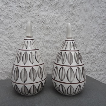 Pair of Ceramic Painted Bottles with Stoppers - Pottery