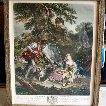 French Print Engraving I beleive,  Le Panier Misterieux - Posters and Prints