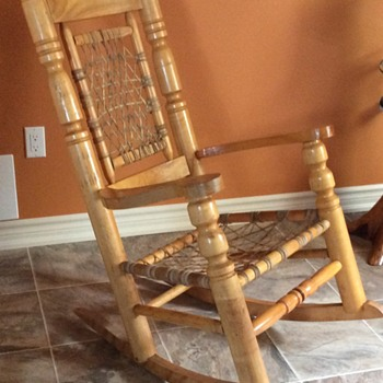 Vintage Quebec Pine Rocker with Sinew Seat and Back (Cat-Gut)