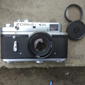 Zorki 4K 1970s Russian export model rangefinder film camera with leather case also marked.