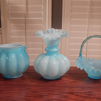 Fenton blue overlay collection - Glassware