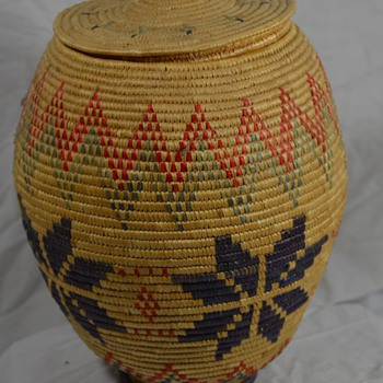Alaskan Native Basket with Lid and Rich Colors - Native American