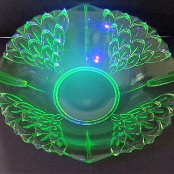 Uranium Glass Bowl from Czechoslovakia - Glassware