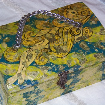 Decoupage with abalone jewelry chest box - Costume Jewelry