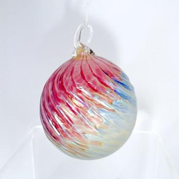 Vintage Iridescent Pink Blue Swirl Ornament Ball.  Help.  - Art Glass