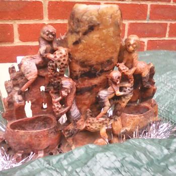 My soap stone monkey vase - Asian