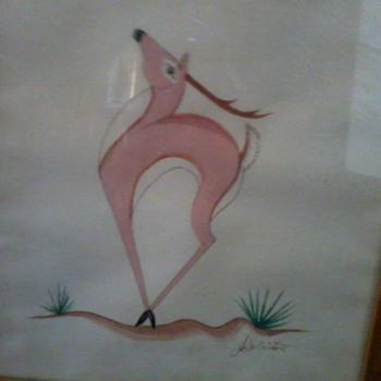 American Indian Deer Painting by L(J?).S. Listoro - Native American