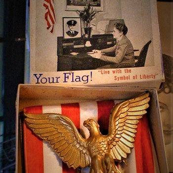 """Happy Memorial Day!"" 1943 Your Flag! Flag in Every Home Committee 48 Star Flag & Eagle Set  - Military and Wartime"