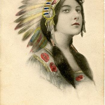 Indian Maiden Postcard 1911