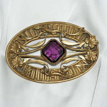 Large Sash Pin with Purple Stone     - Costume Jewelry