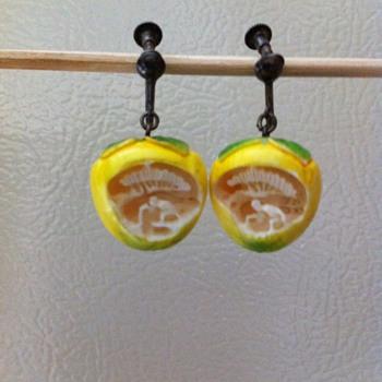 Vintage Lemon Earrings - Costume Jewelry