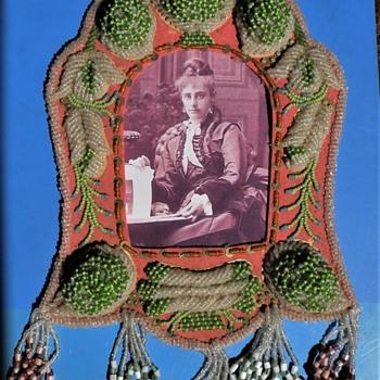 c1910 Iroquois beadwork frame. - Native American