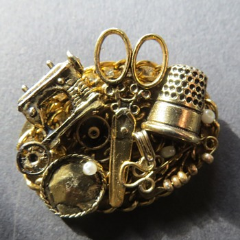 Sewing Brooch - Costume Jewelry