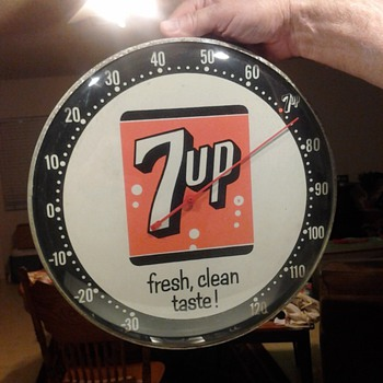 Vintage Pam Advertising 7UP Bubble Glass Thermometer  - Advertising