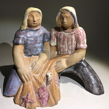 Ceramic sculpture two fishermen. - Pottery