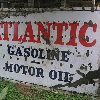 HUGE PORCELAIN SINGLE SIDED ATLANTIC GASOLINE & MOTOR OIL SIGN - Advertising