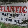 HUGE PORCELAIN SINGLE SIDED ATLANTIC GASOLINE & MOTOR OIL SIGN